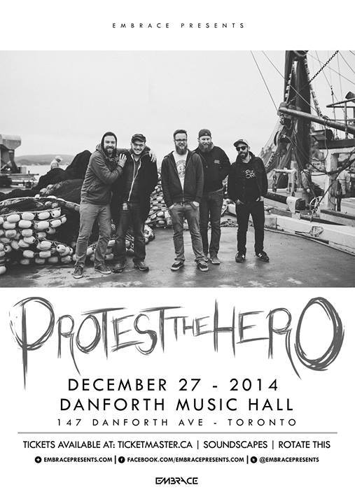PTH at Danforth Music Hall in Toronto on December 27 - Protest The Hero